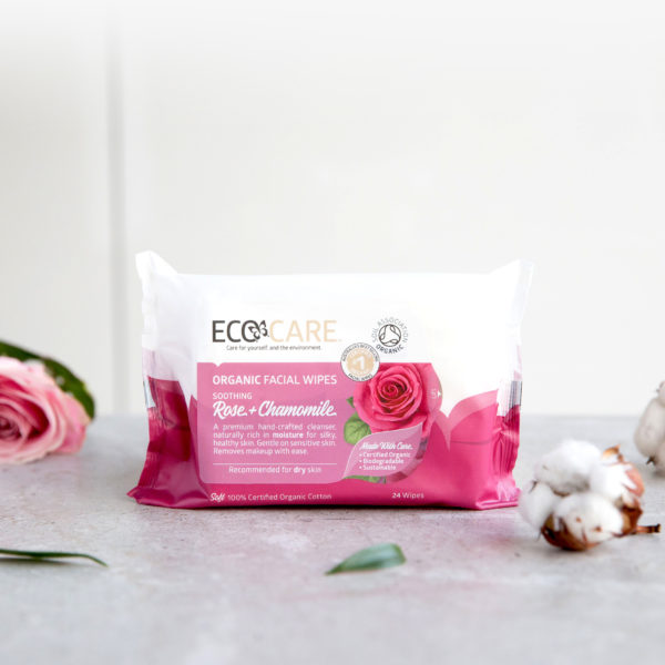ECOCARE Organic Facial Wipes, Rose + Chamomile